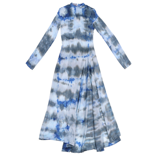 STINGRAY SILK GOWN - BLUE TIE DYE