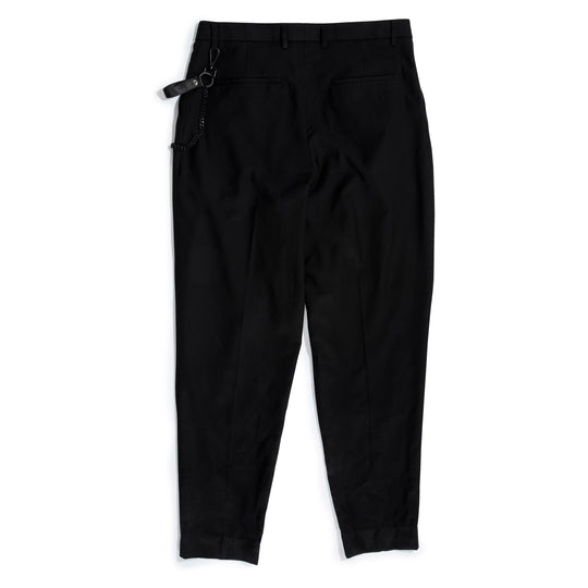 Pleated Trouser with Chain Merino Wool