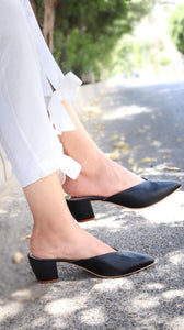 Black Pointy Toe Block Heel
