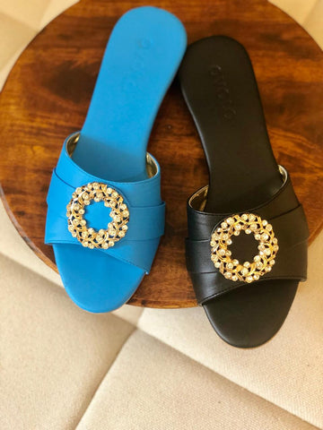 Diamond Hoop Sandals - White, Blue, Black, Red