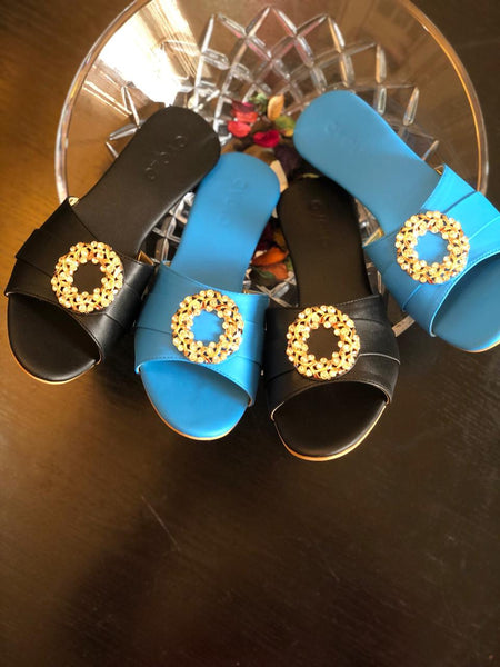 Diamond Hoop Sandals - White, Blue, Black, Red - Ovolo Karachi