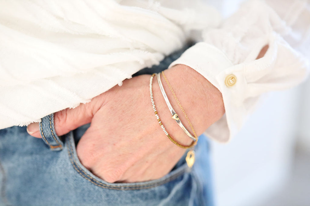 Heart of Silver and Gold Bangle - Honey + Ice