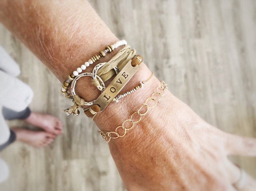LOVE + LEATHER BRACELET