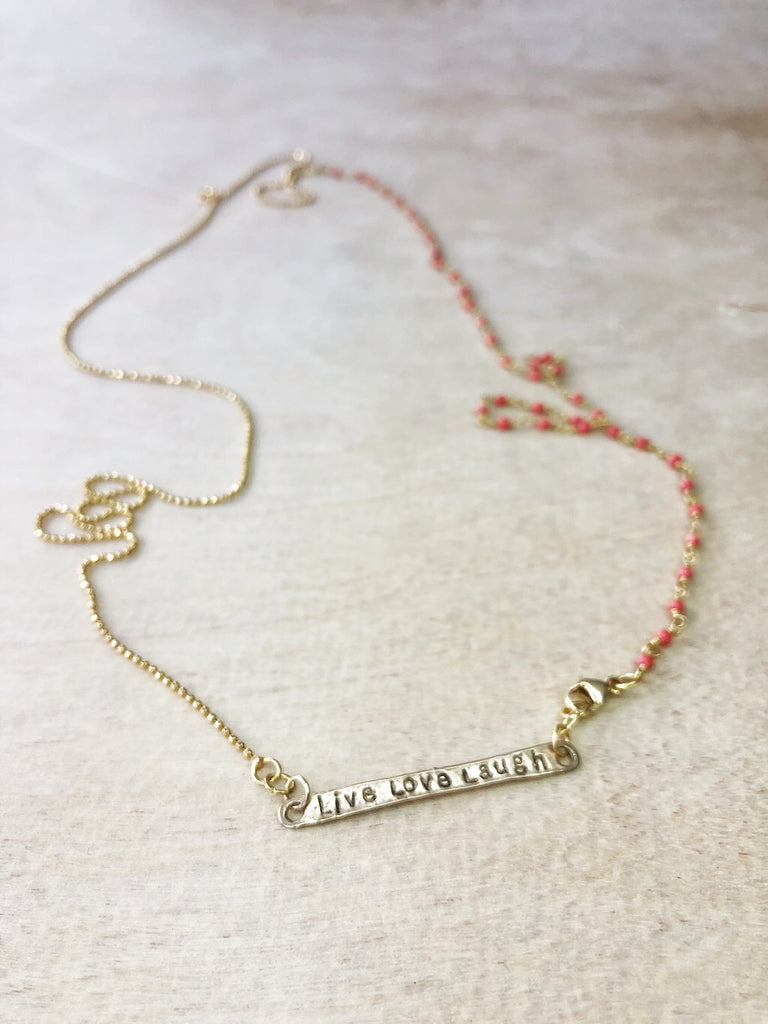 LIVE LOVE LAUGH necklace- coral