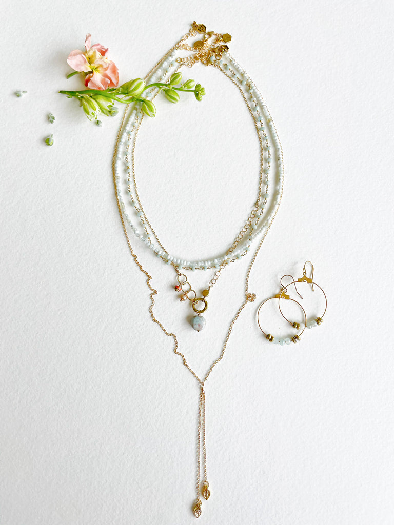 Foxglove Dot Necklace - Honey + Ice