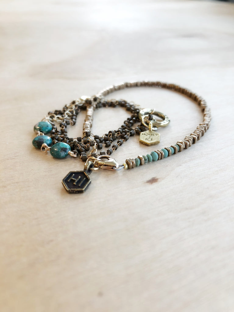 Turquoise Bracelet Necklace Wrap - Honey + Ice
