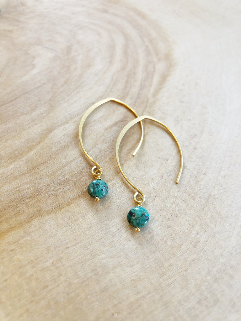 Turquoise Drop Earrings - Honey + Ice