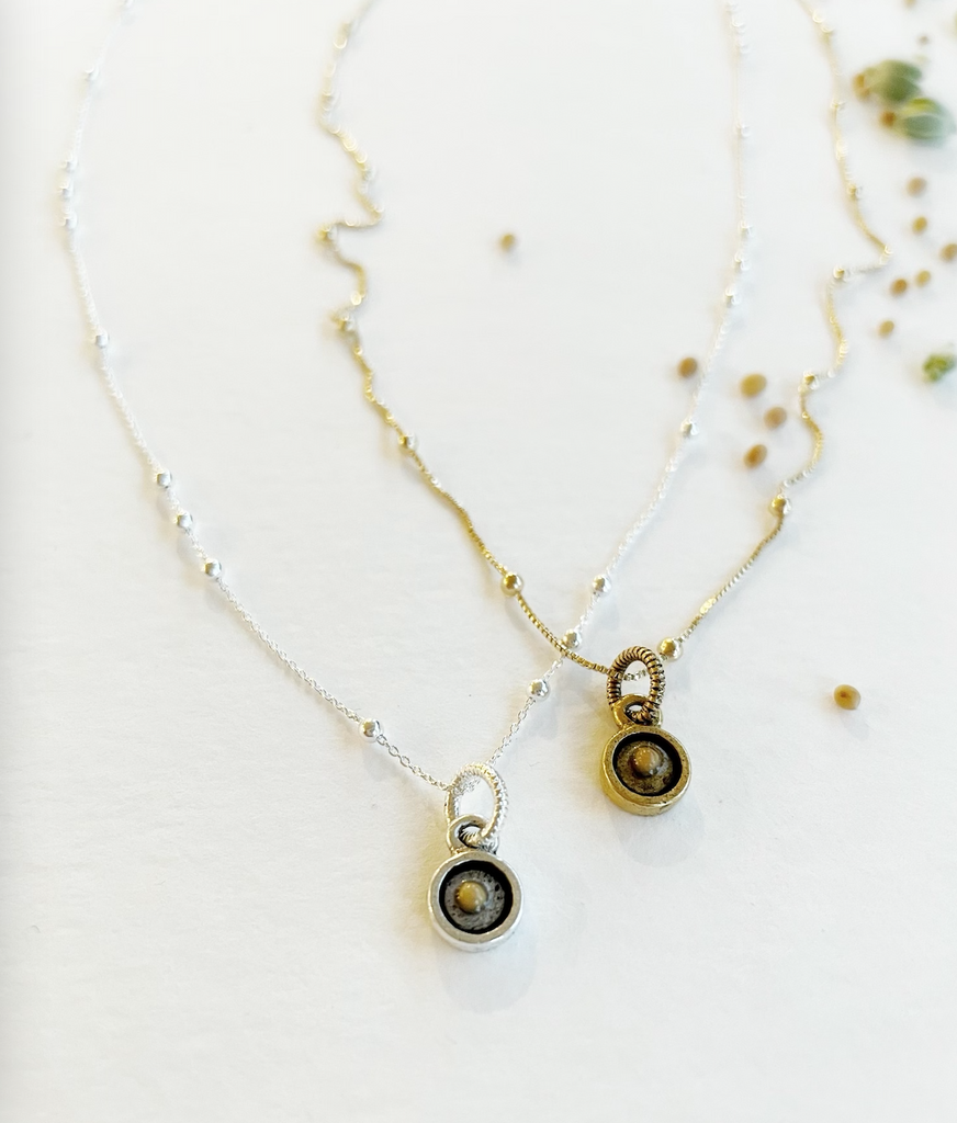 The Mustard Seed Necklace - Honey + Ice