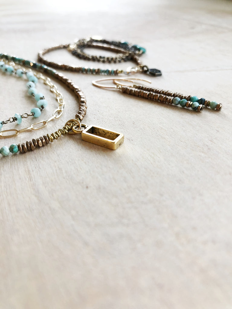 Stick Turquoise Earrings - Honey + Ice