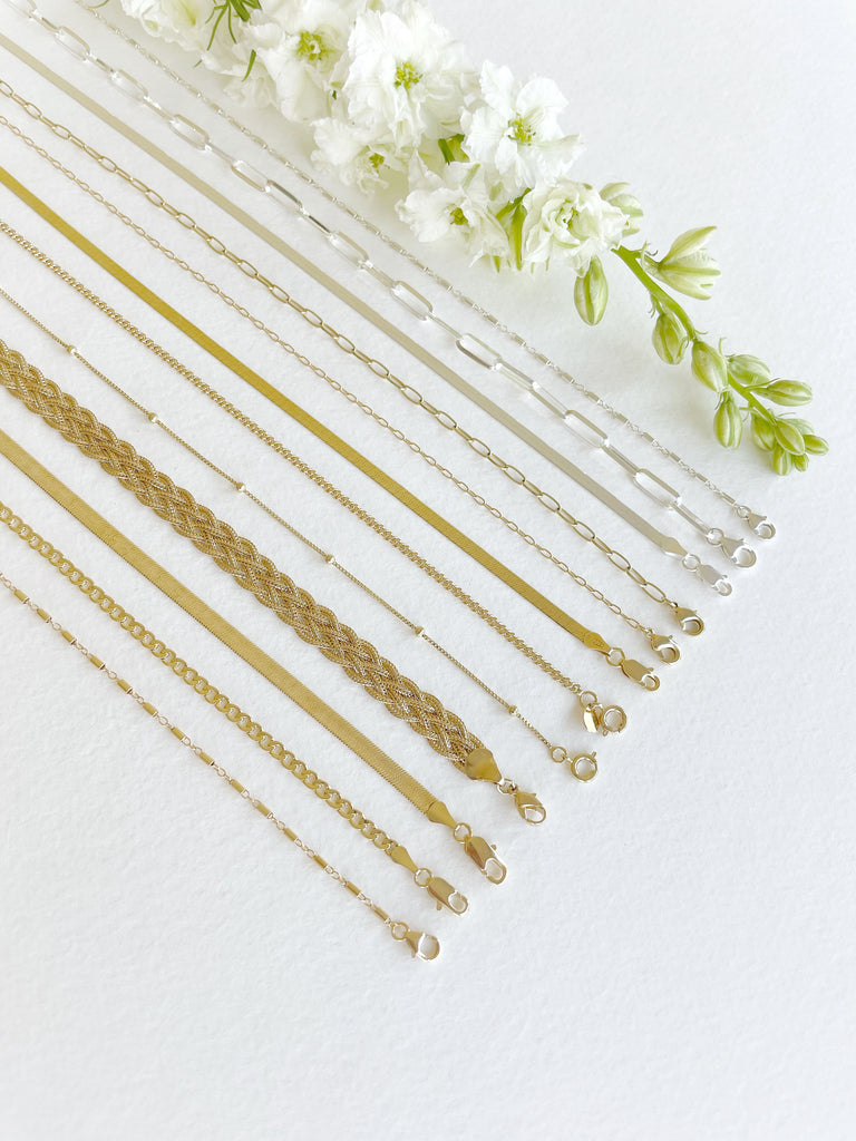 Forever Sterling Silver Herringbone Chain - Honey + Ice