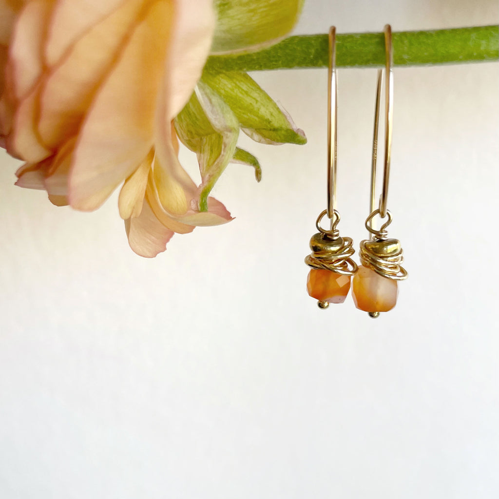 Poppy Drop Earrings - Honey + Ice