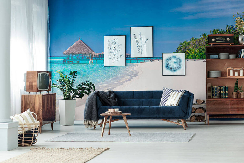 living room with a beach wallpaper mural