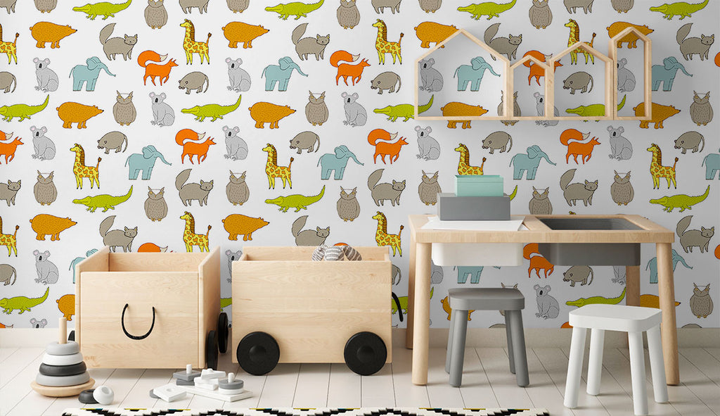 white and tan animals baby fabric removable wallpaper