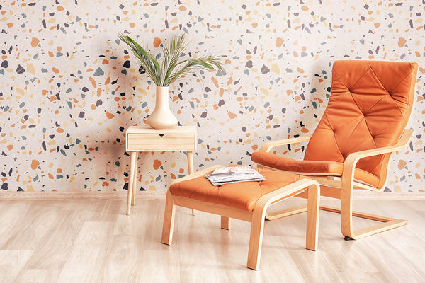 Orange Terrazzo Basic Peel wallpaper