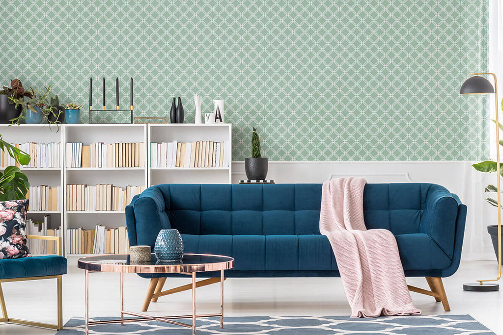 Contemporary living room with removable sage green wallpaper