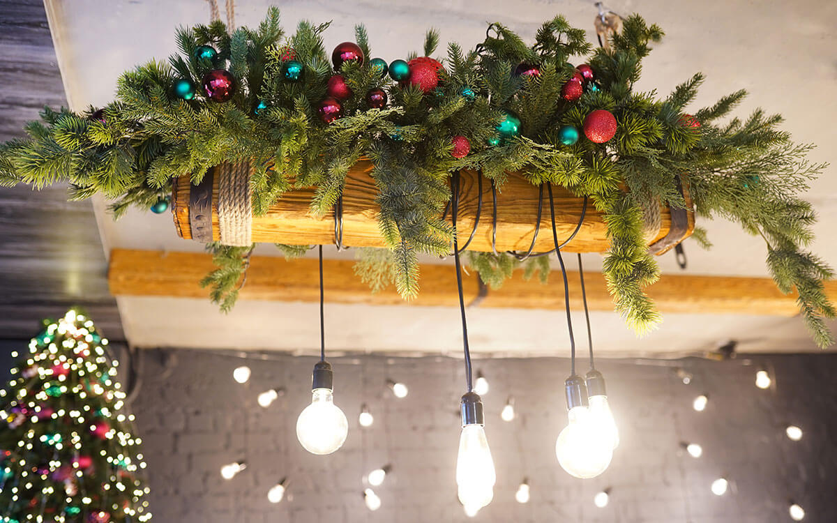 Bright pendant bulbs with christmas decor