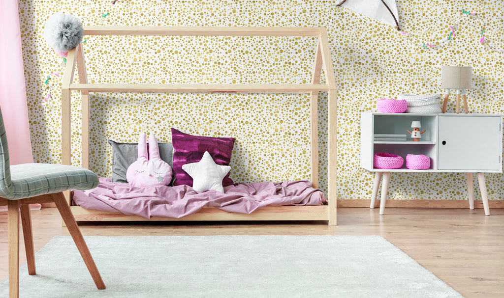 gold bubbles teens fabric removable wallpaper