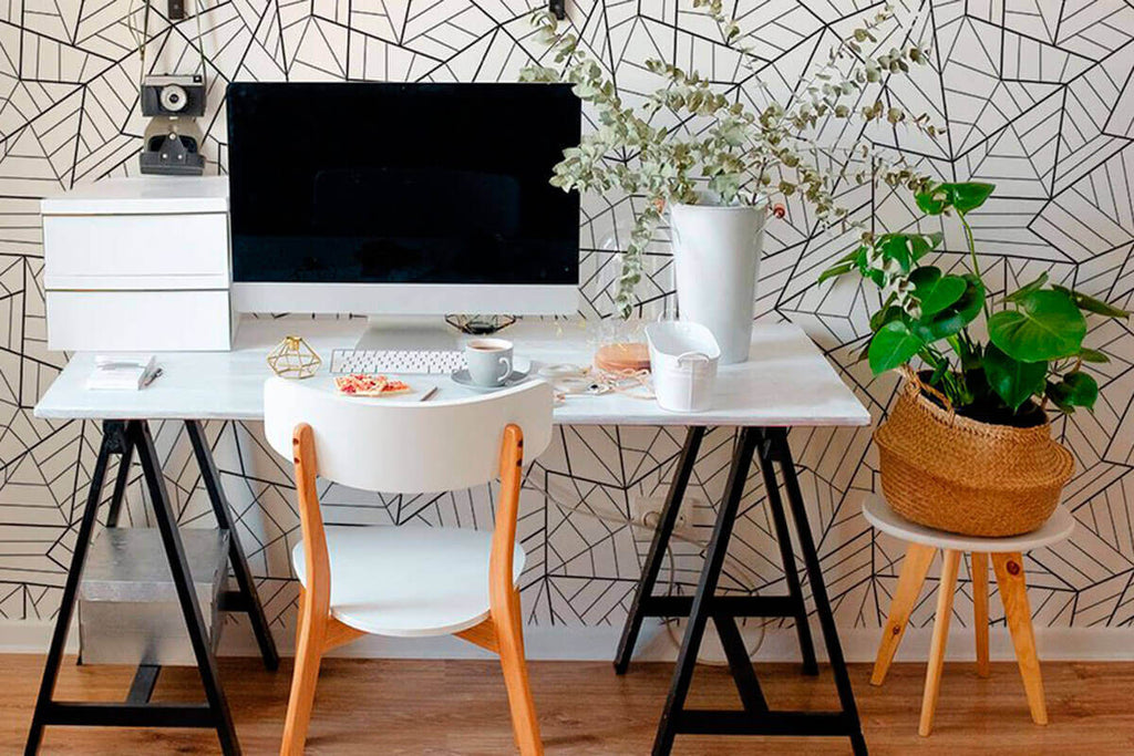 Modern office with removable wallpaper and black and white geometric peel and stick