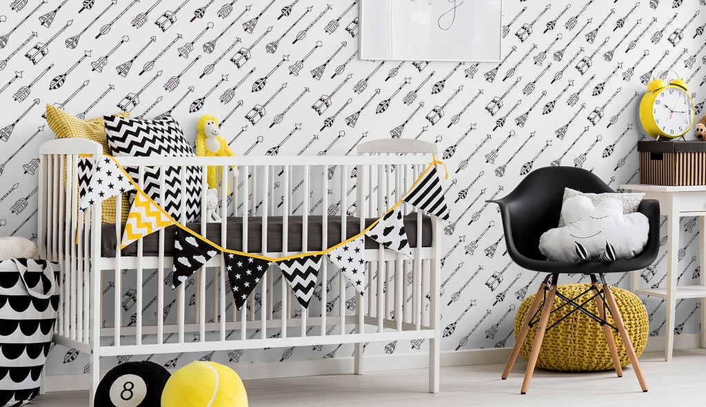 black and white arrows baby fabric removable wallpaper