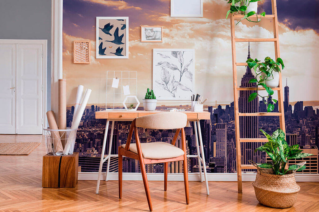 office with winter landscape mural wallpaper