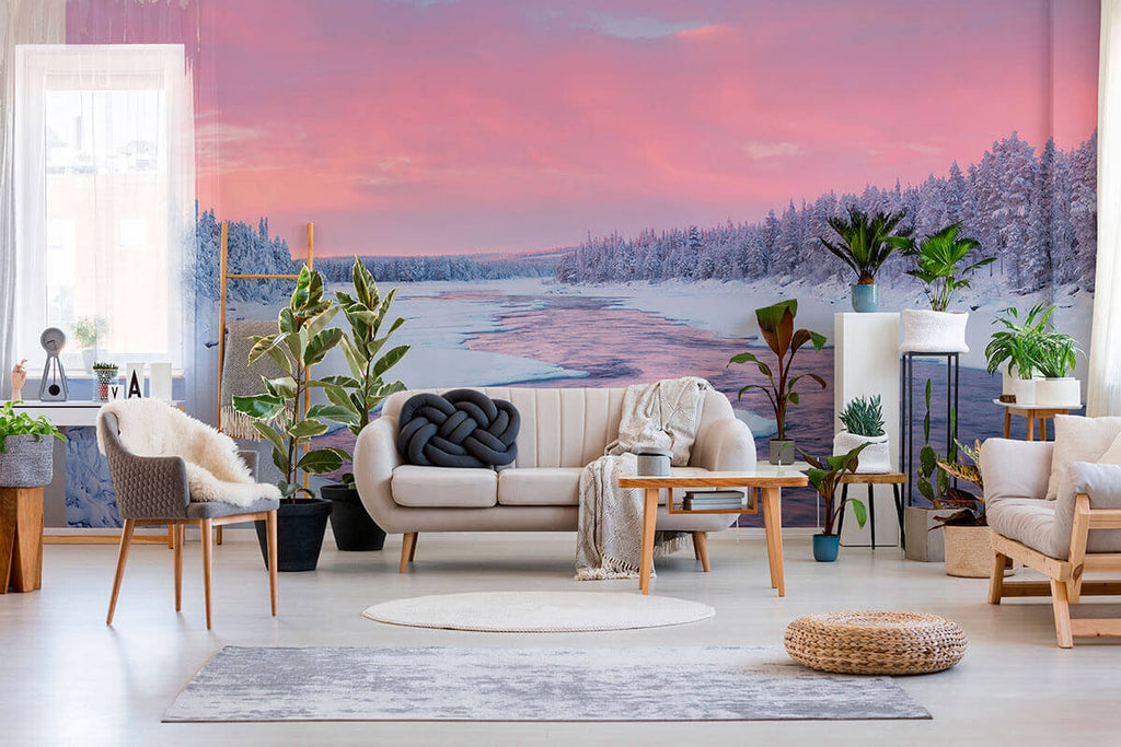peel and stick removable wallpaper mural with pink and blue winter landscape