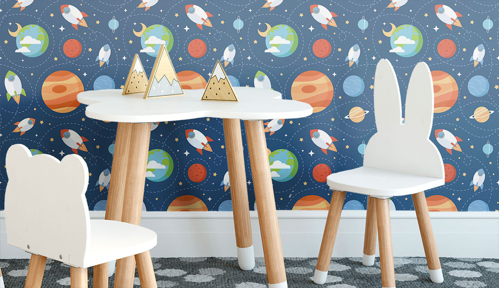 blue and brown space children fabric removable wallpaper