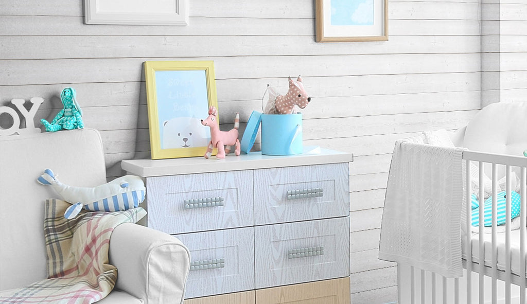 baby room with black and white shiplap peel and stick removable wallpaper