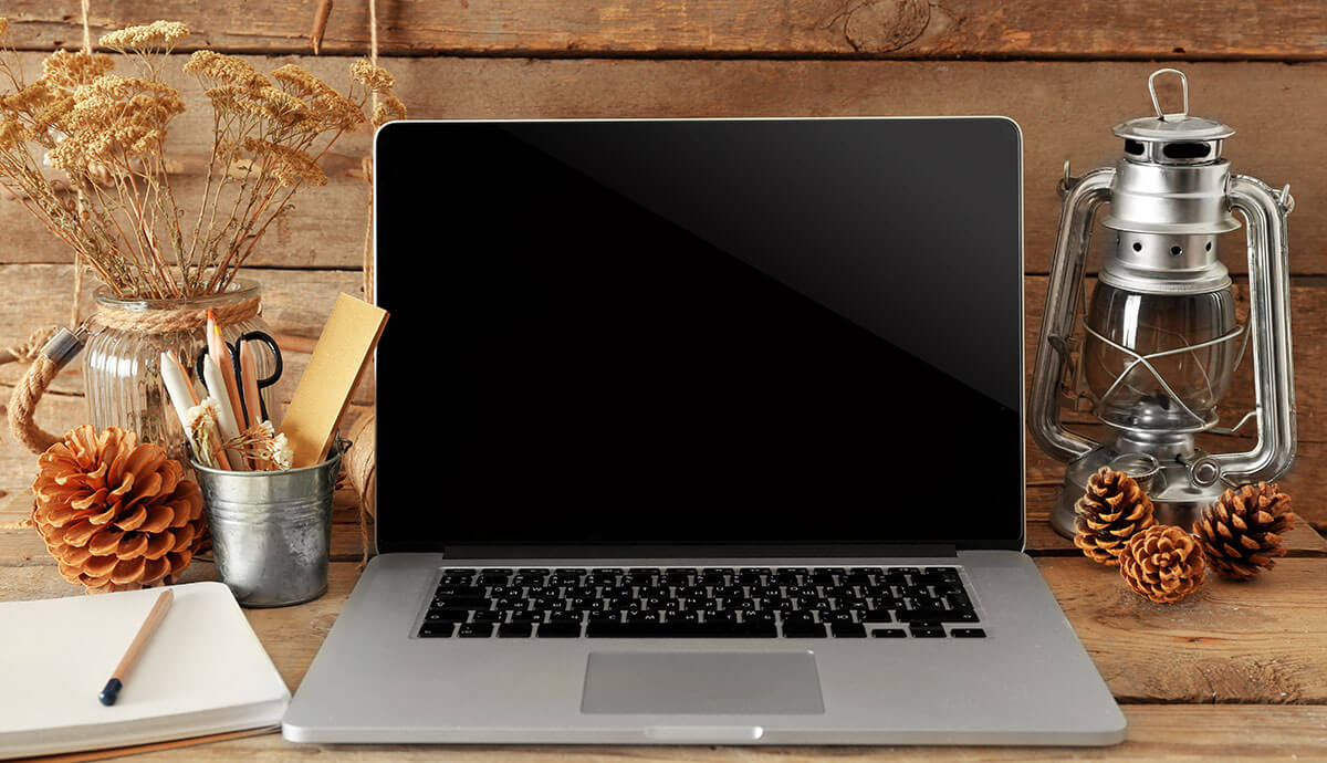 Laptop with fall decor