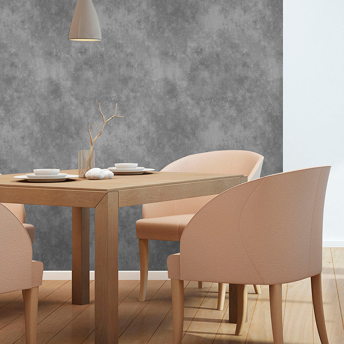 sophisticated dining area with concrete style wallpaper