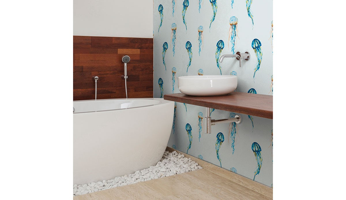Fun jellyfish wallpaper in a bathroom