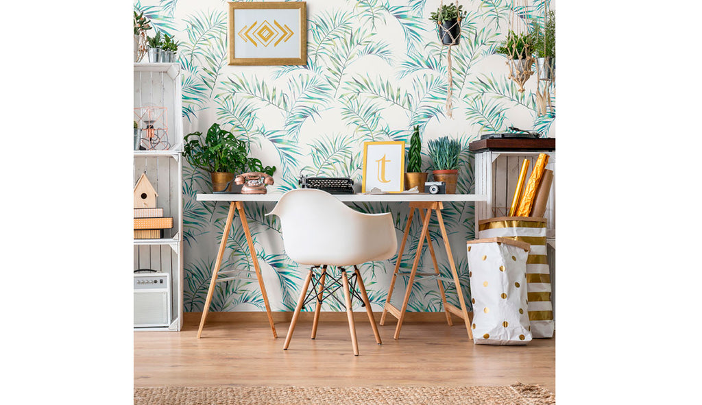 organized study area with green botanical removable wallpaper