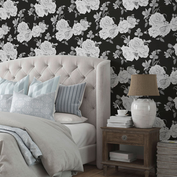 Black and White Floral Fabric Removable Wallpaper