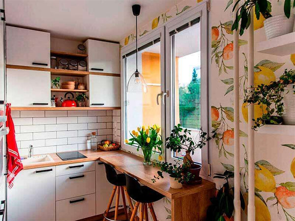 image of a kitchen decorated with food print wallpaper
