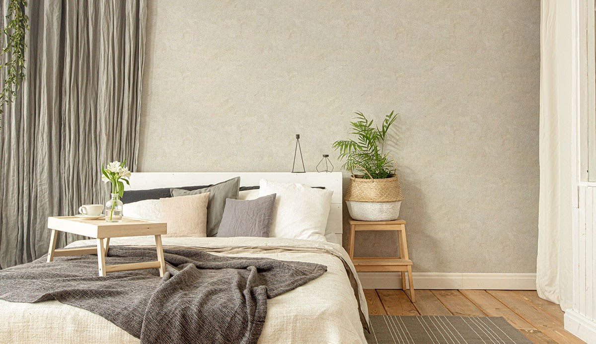 Bedroom with Grey and Brown Faux Cement Texture Fabric Removable Wallpaper