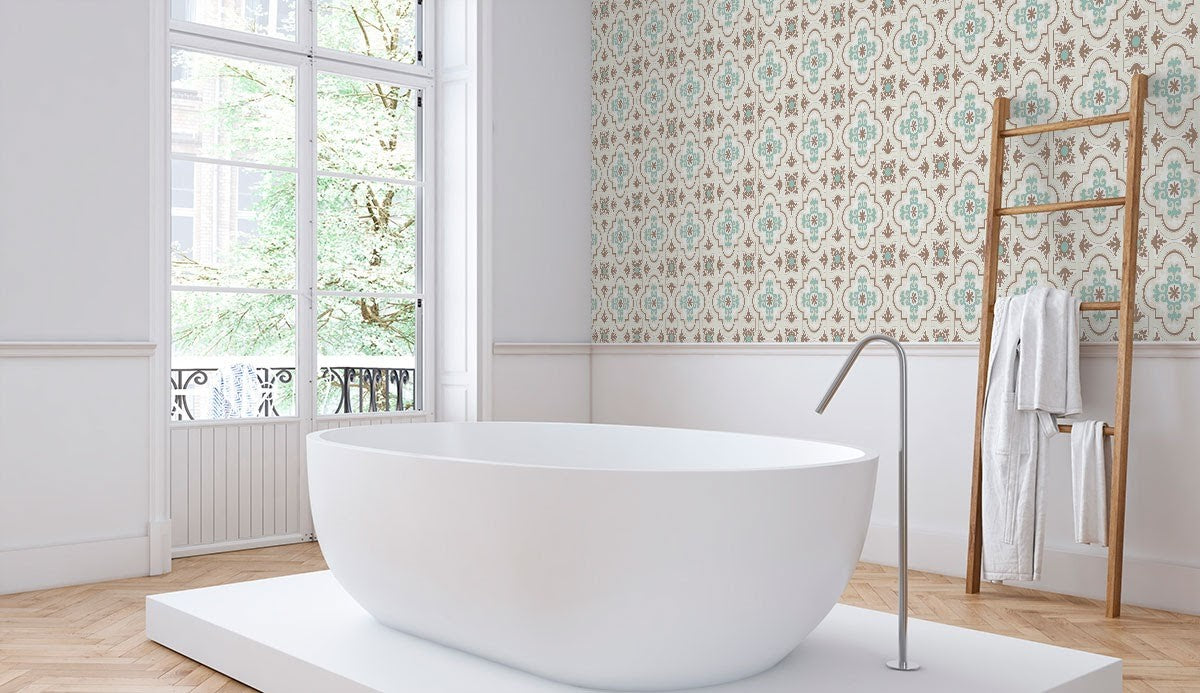 Moroccan-inspired tile design for a bathroom feature wall