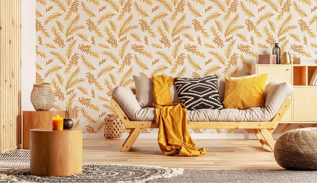 A room decorated with orangey-earth tones