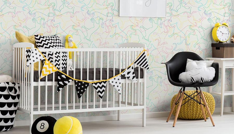 A nursery decorated with dog wallpaper for walls