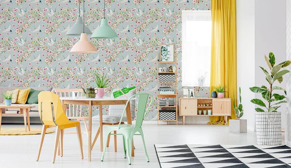 Japanese-inspired peel and stick wallpaper featuring a bird and floral design