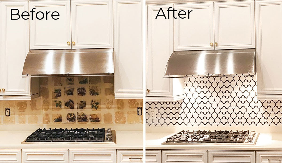 Before and after images of redesigning a kitchen backsplash