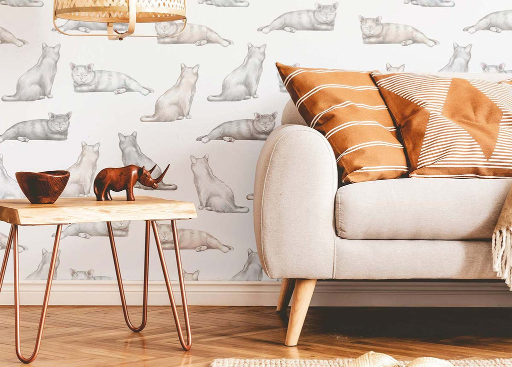 living room with grey cats removable wallpaper