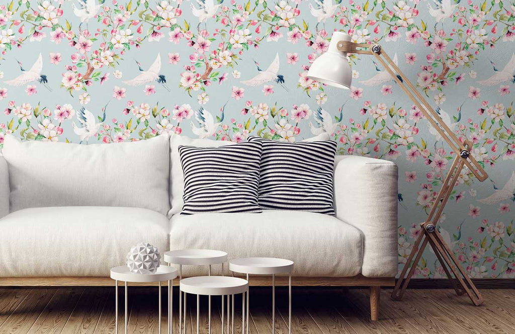 sofa with blue and pink cherry blossom bird wallpaper
