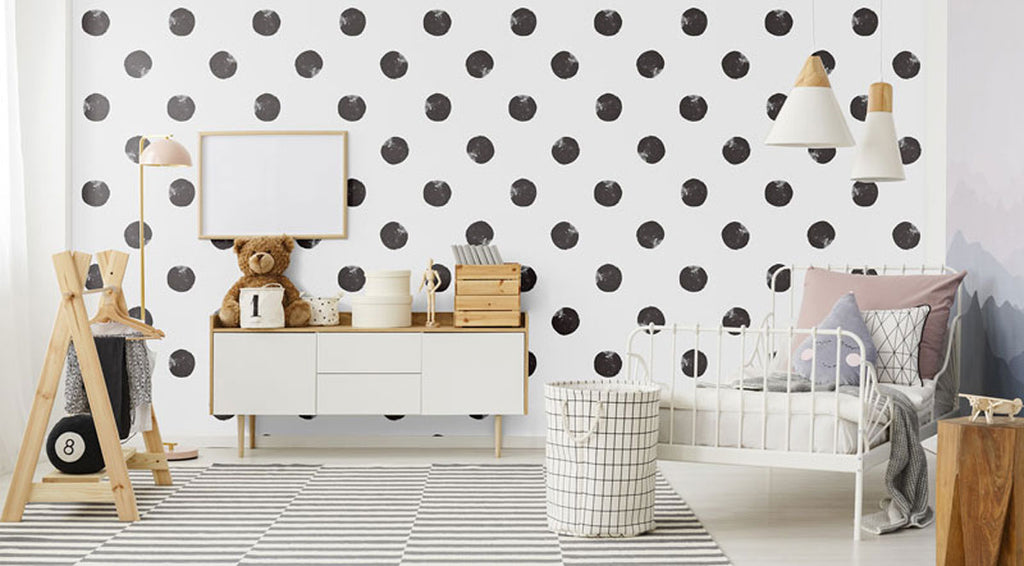 cute black and white kid's bedroom