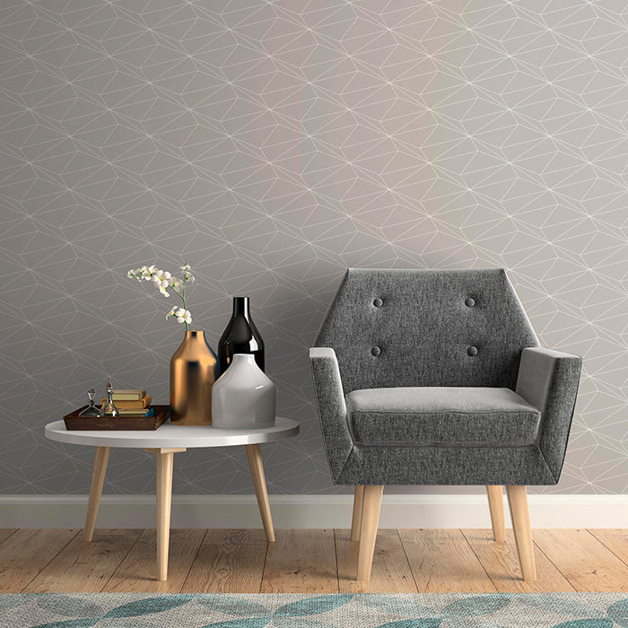grey tone area with geometric style wallpaper