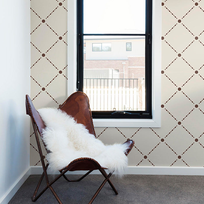 chair with white fur - Beige Geometric wallpaper