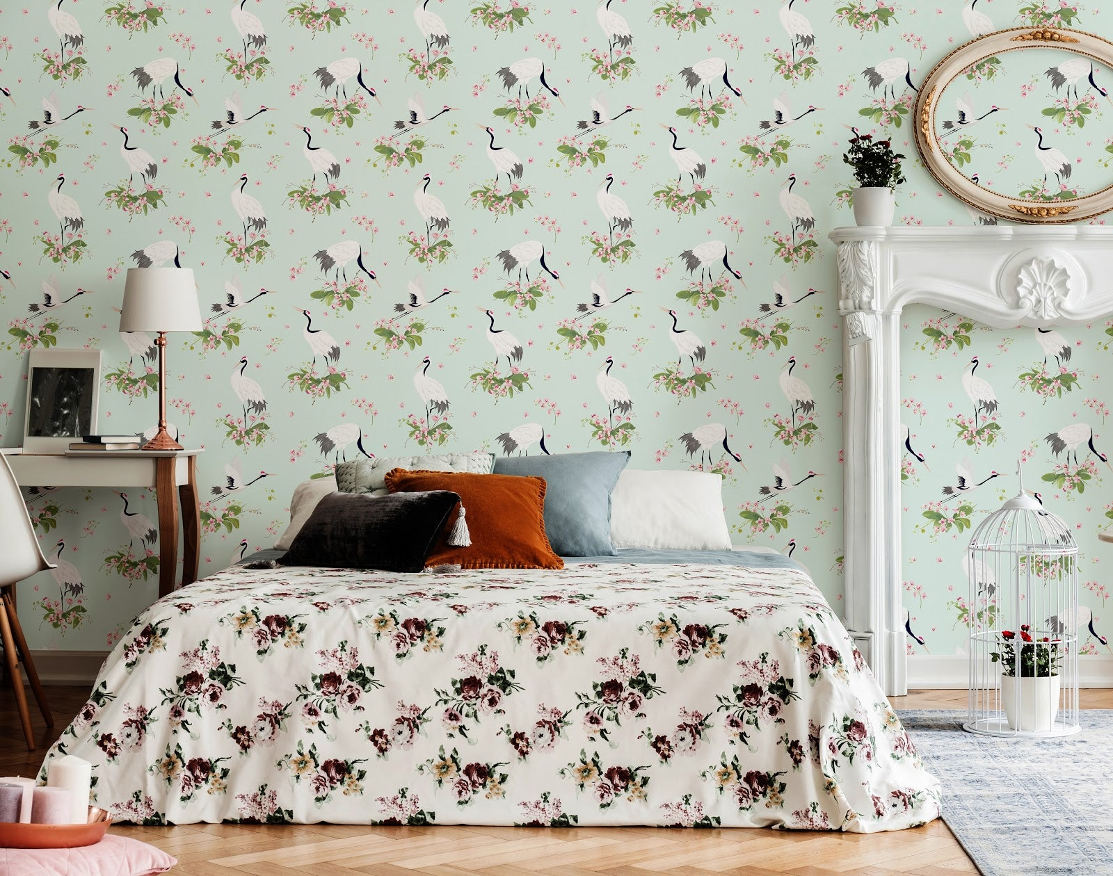 Birds feature on a vintage style romantic wallpaper for a bedroom.