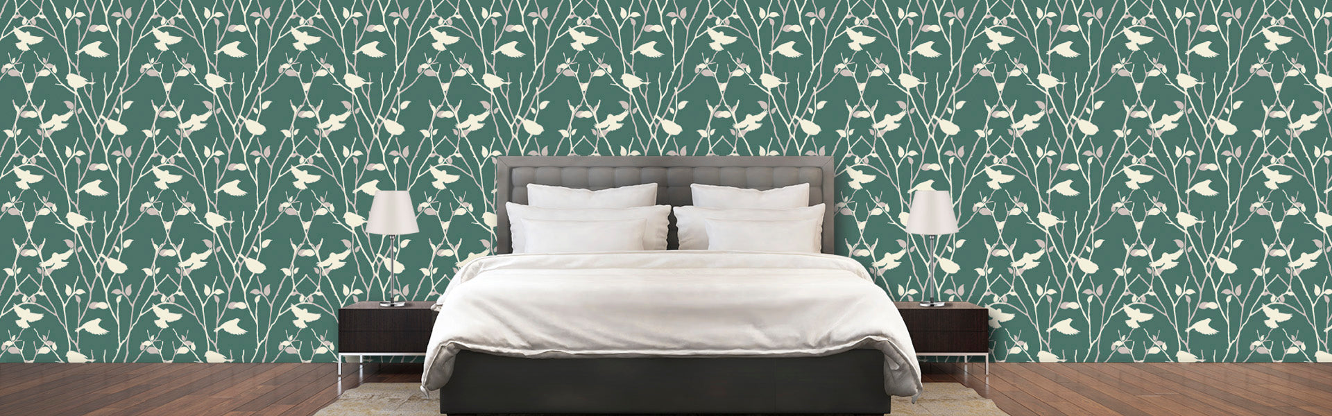 grey bird animal fabric removable wallpaper