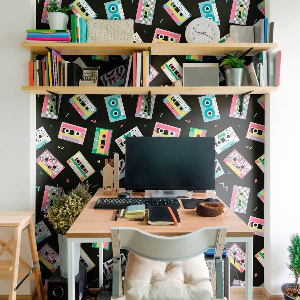 removable wallpaper with musical notes and guitars