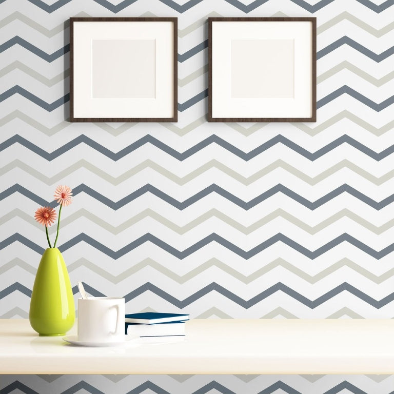 white desk with white and champagne chevron wallpaper
