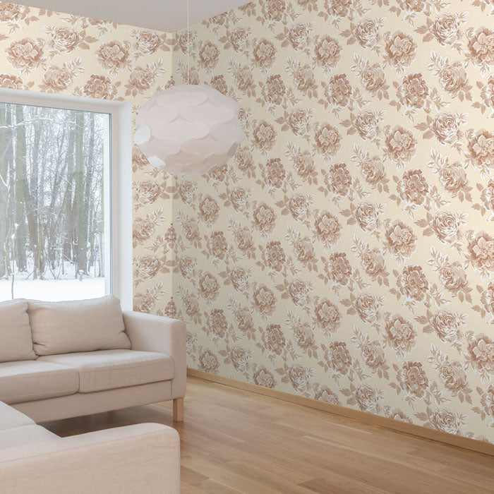 brown and beige floral removable wallpaper
