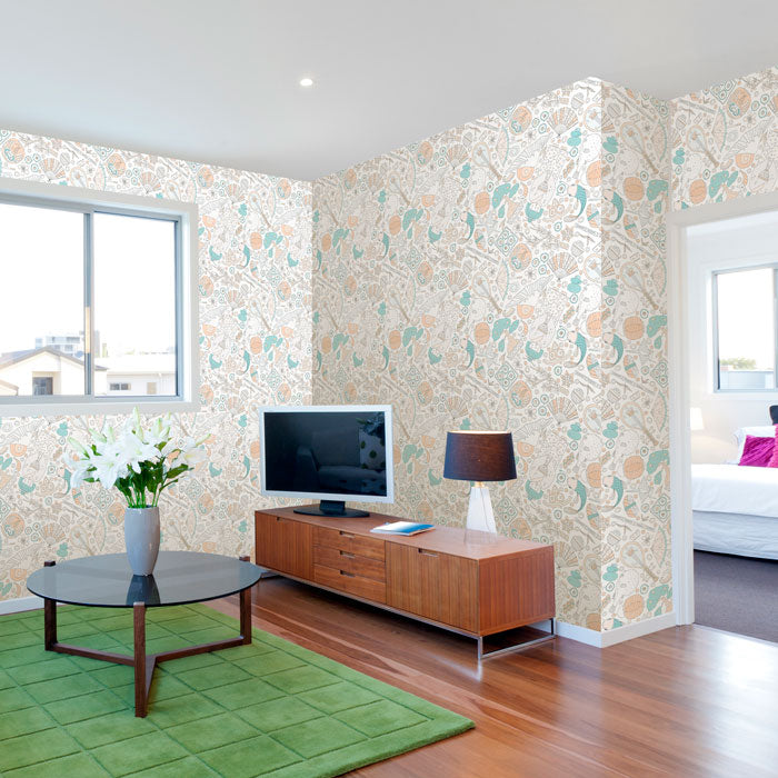 white asian themed removable wallpaper